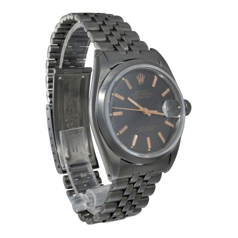 Rolex Steel Datejust with Custom Dial and Unique Charcoal Case, Late 1960's For Sale 2