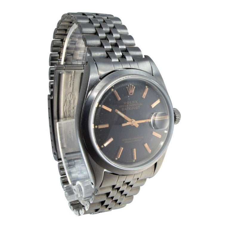 Rolex Steel Datejust with Custom Dial and Unique Charcoal Case, Late 1960's For Sale 3