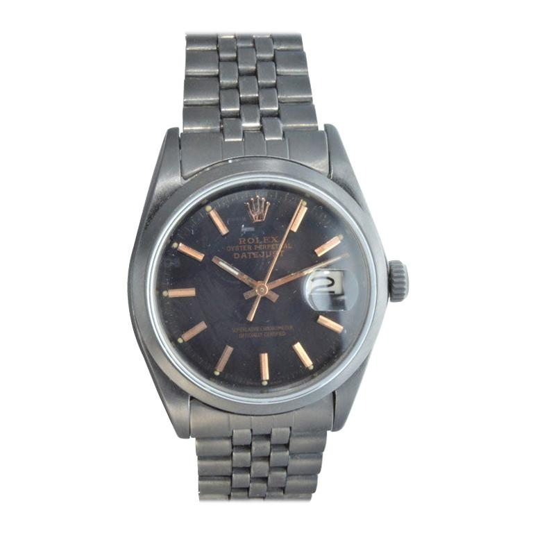 Rolex Steel Datejust with Custom Dial and Unique Charcoal Case, Late 1960's For Sale