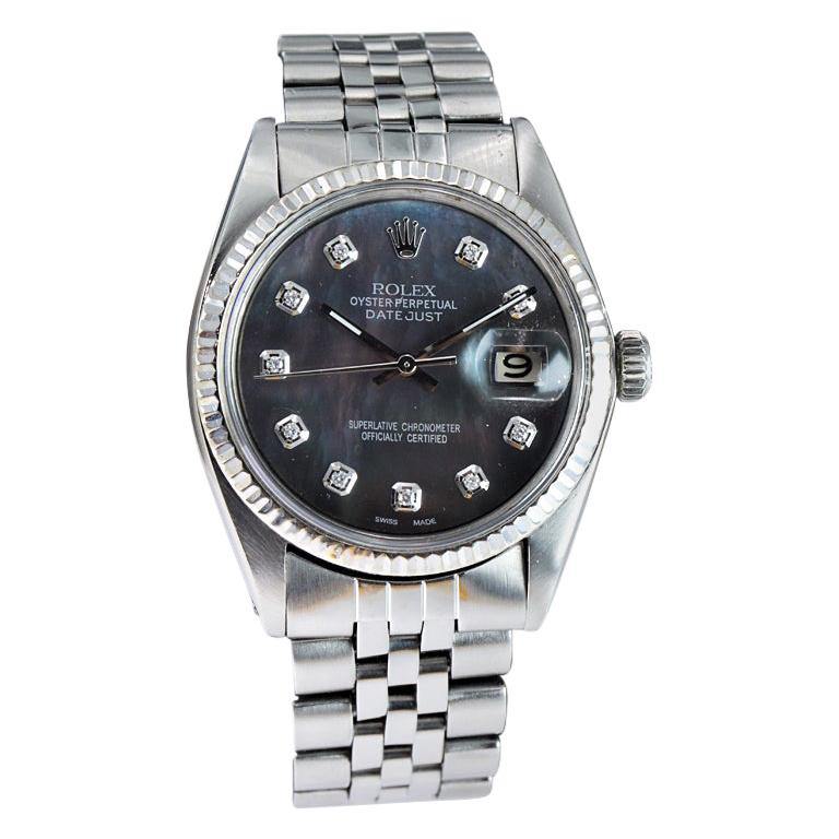 Rolex Steel Datejust with Custom Made Mother of Pearl Diamond Dial from 1970 For Sale