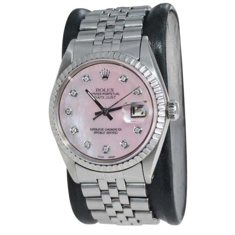 Modern Rolex Steel Datejust with Custom Made Mother of Pearl Diamond Dial, 1970's For Sale