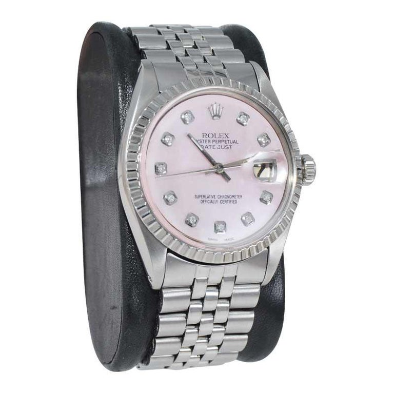 Round Cut Rolex Steel Datejust with Custom Made Mother of Pearl Diamond Dial, 1970's For Sale