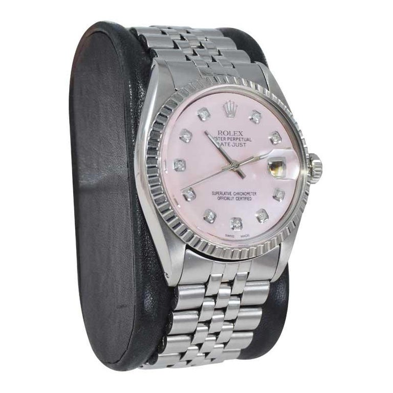 Rolex Steel Datejust with Custom Made Mother of Pearl Diamond Dial, 1970's In Excellent Condition For Sale In Long Beach, CA