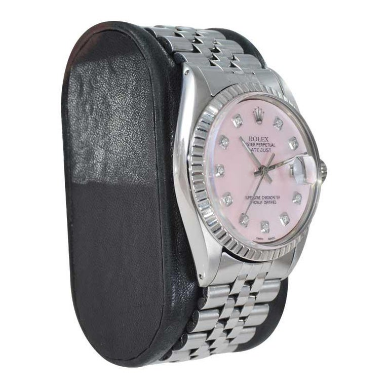 Women's or Men's Rolex Steel Datejust with Custom Made Mother of Pearl Diamond Dial, 1970's For Sale