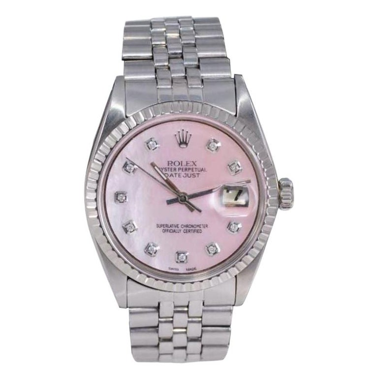 Rolex Steel Datejust with Custom Made Mother of Pearl Diamond Dial, 1970's For Sale