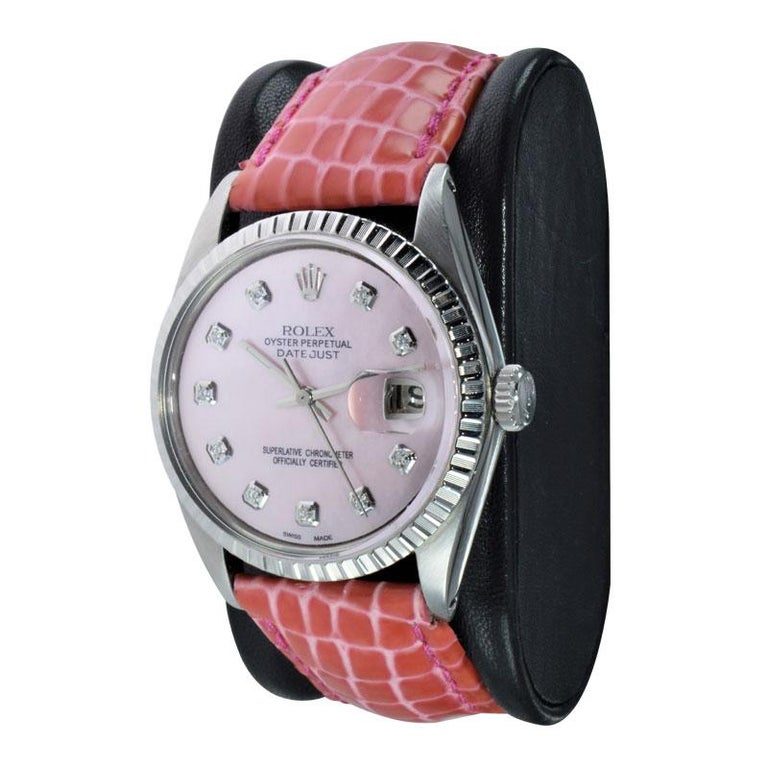 Modern Rolex Steel Datejust with Custom Made Mother of Pearl Diamond Dial from 1970 For Sale