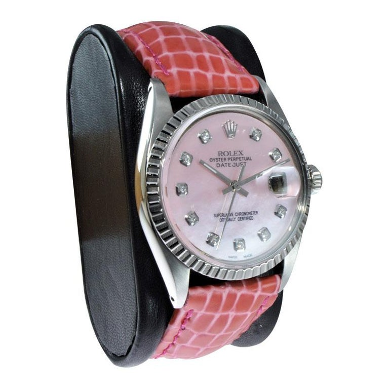 Round Cut Rolex Steel Datejust with Custom Made Mother of Pearl Diamond Dial from 1970 For Sale