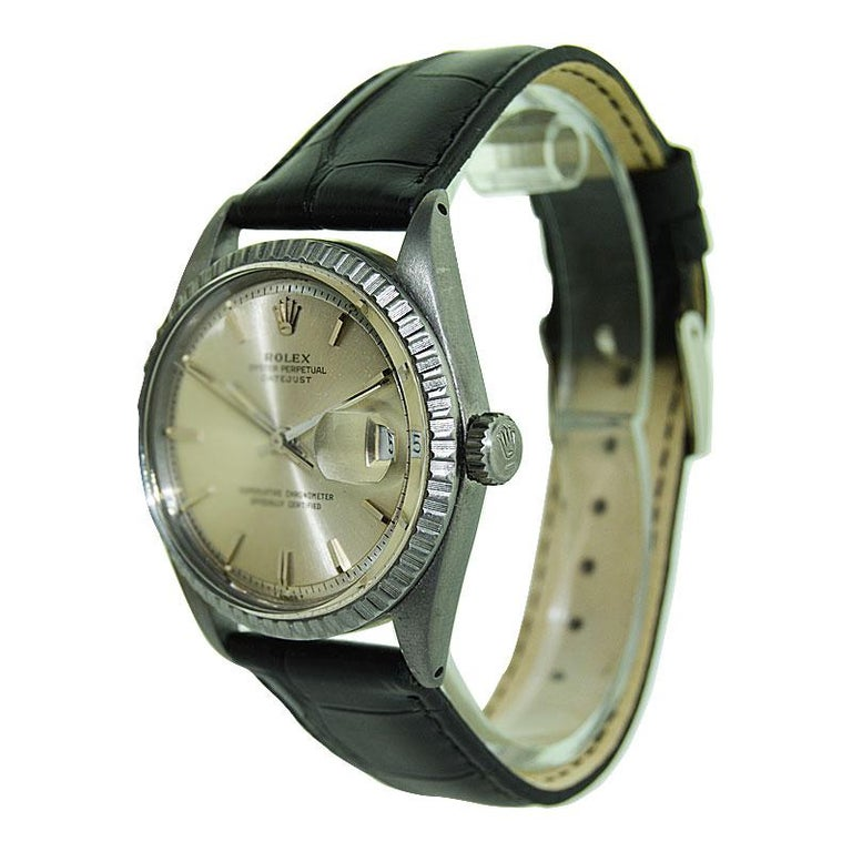Rolex Steel Datejust with Original Dial and Charcoal Finish, 1960's In Excellent Condition For Sale In Long Beach, CA