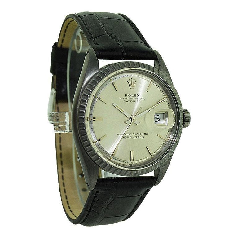 Women's or Men's Rolex Steel Datejust with Original Dial and Charcoal Finish, 1960's For Sale