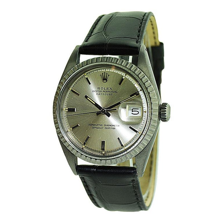 Rolex Steel Datejust with Original Dial and Charcoal Finish, 1960's For Sale 1