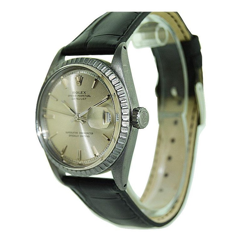 Rolex Steel Datejust with Original Dial and Charcoal Finish, 1960's For Sale 2