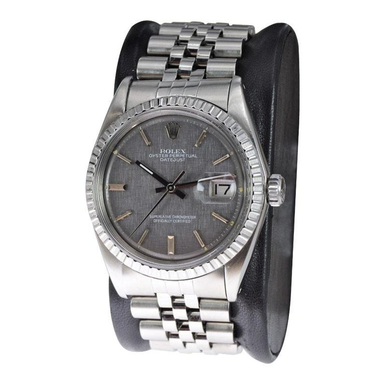 FACTORY / HOUSE: Rolex Watch Company STYLE / REFERENCE: Datejust / Ref. 1601  METAL / MATERIAL:  Stainless Steel  CIRCA / YEAR: 1972 / 73 DIMENSIONS / SIZE: 43mm X 36mm MOVEMENT / CALIBER: Perpetual Winding / 26 Jewels / Cal. 1570 DIAL / HANDS: