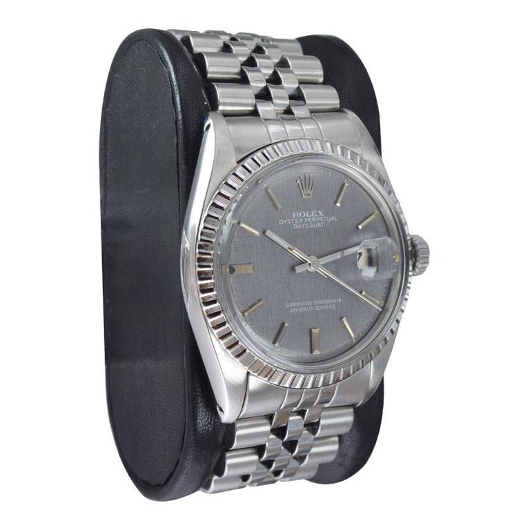 Women's or Men's Rolex Steel Datejust with Rare Charcoal Linen Dial, circa 1972 or 1973 For Sale
