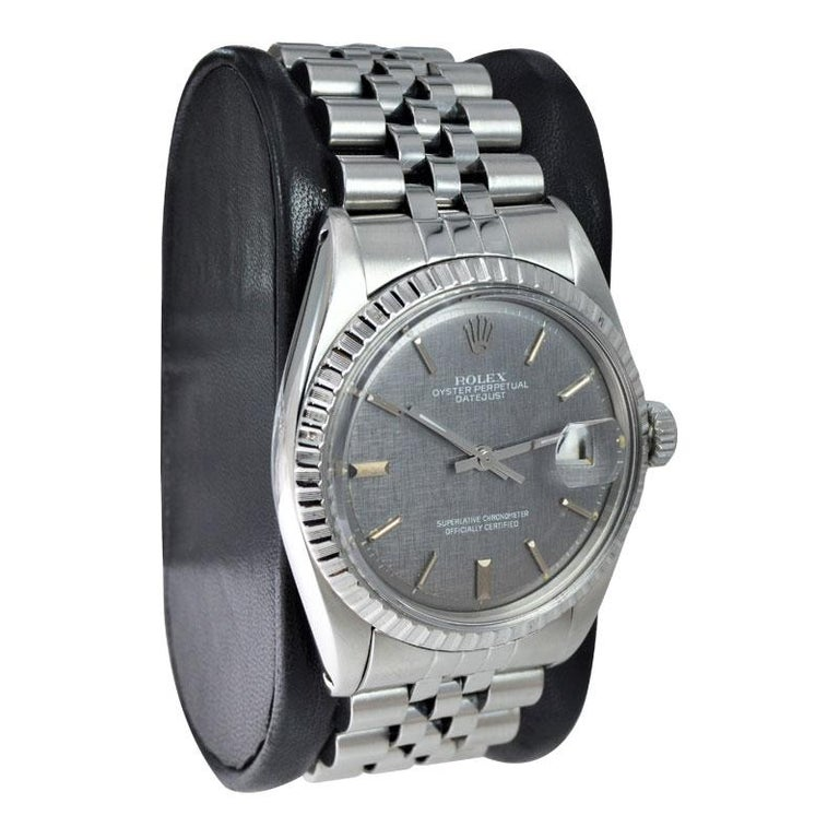 Rolex Steel Datejust with Rare Charcoal Linen Dial, circa 1972 or 1973 For Sale 1