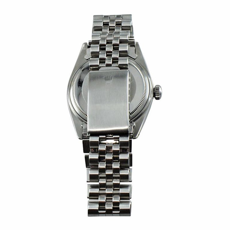 Rolex Steel Datejust with Rare Charcoal Linen Dial, circa 1972 or 1973 For Sale 4