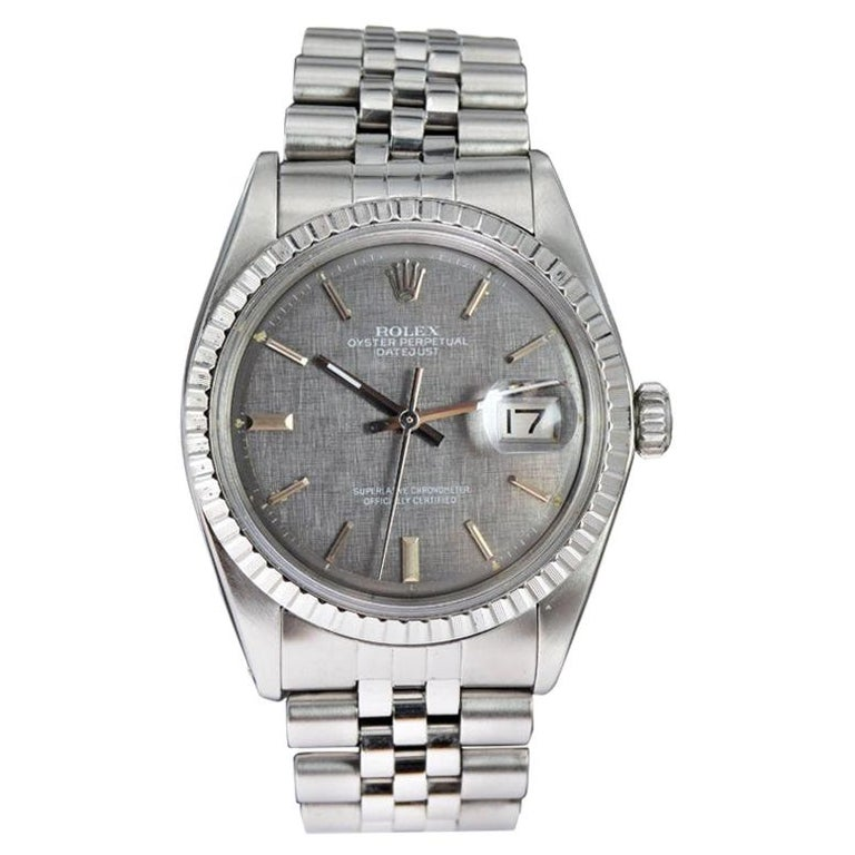 Rolex Steel Datejust with Rare Charcoal Linen Dial, circa 1972 or 1973 For Sale