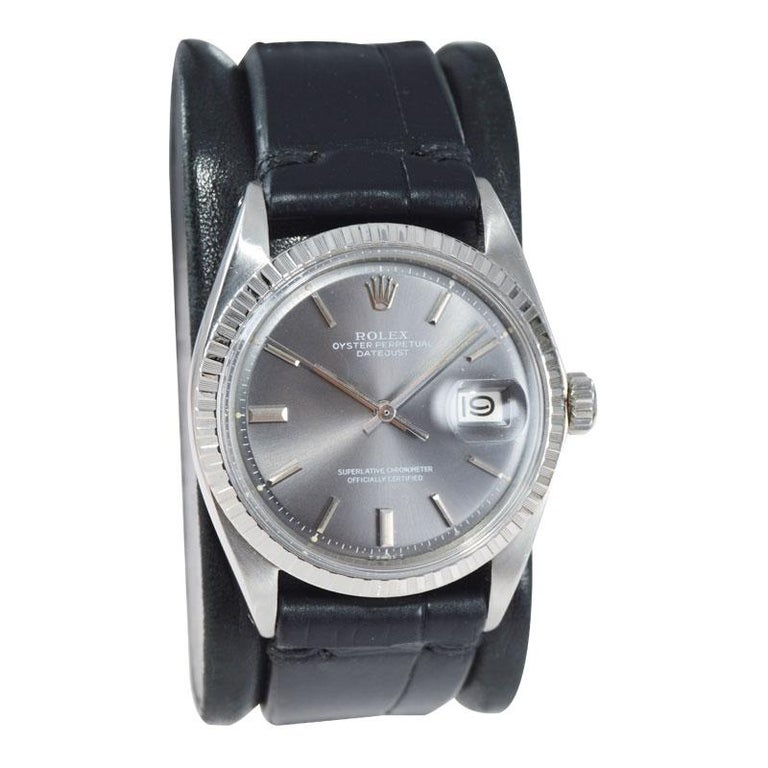 FACTORY / HOUSE: Rolex Watch Company STYLE / REFERENCE: Datejust / 1601 METAL / MATERIAL: Stainless Steel CIRCA / YEAR: 1969 DIMENSIONS / SIZE: 43mm x 36mm MOVEMENT / CALIBER: Perpetual Winding / 26 Jewels / Caliber 1500 DIAL / HANDS: Original