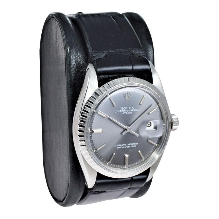 Modernist Rolex Steel Datejust with Rare Original Charcoal Dial from 1969 For Sale