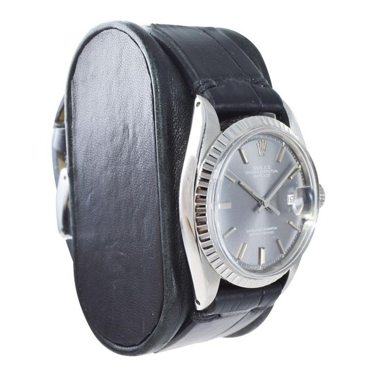 Women's or Men's Rolex Steel Datejust with Rare Original Charcoal Dial from 1969 For Sale