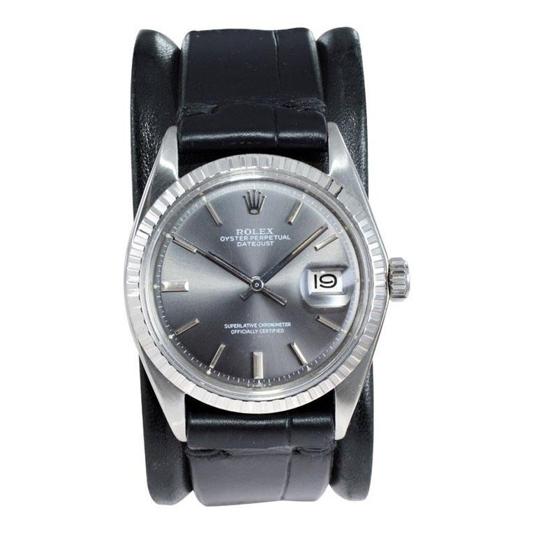 Rolex Steel Datejust with Rare Original Charcoal Dial from 1969 For Sale 1