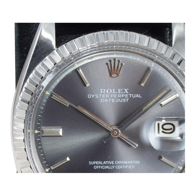 Rolex Steel Datejust with Rare Original Charcoal Dial from 1969 For Sale 4