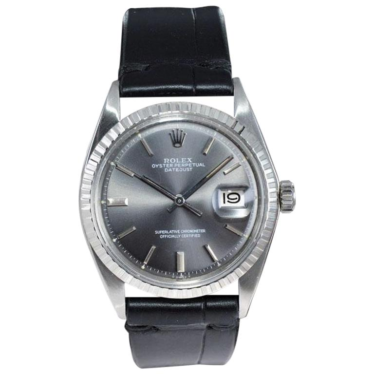 Rolex Steel Datejust with Rare Original Charcoal Dial from 1969 For Sale