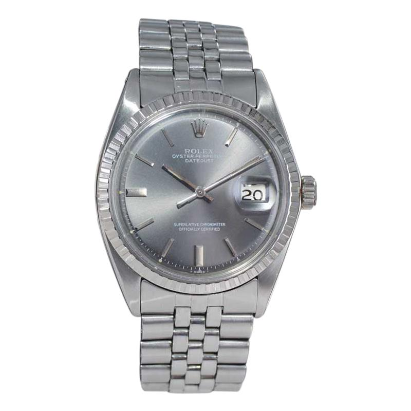 Rolex Steel Datejust with Rare Original Charcoal Dial from 1969