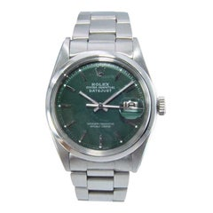 Rolex Steel Datejust with Rare Polished Bezel Custom Green Dial from Mid 1970's
