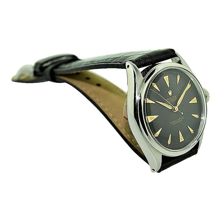 Rolex Steel Early Oyster with Original Super Oyster Crown from 1952-1953 For Sale 5