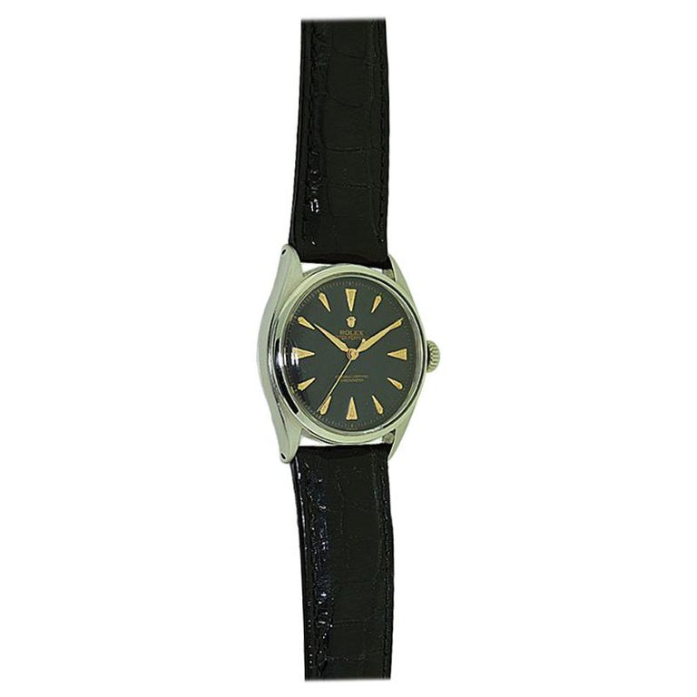 Rolex Steel Early Oyster with Original Super Oyster Crown from 1952-1953 For Sale 7