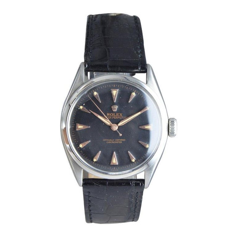 Art Deco Rolex Steel Early Oyster with Original Super Oyster Crown from 1952-1953 For Sale