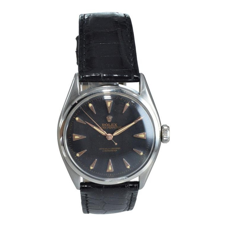 Rolex Steel Early Oyster with Original Super Oyster Crown from 1952-1953 In Excellent Condition For Sale In Venice, CA