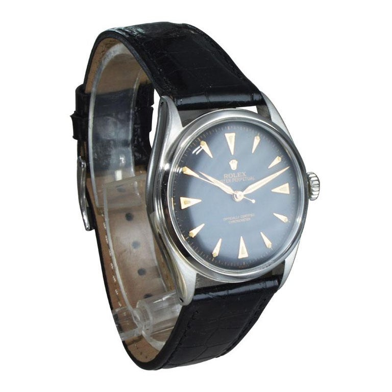 Women's or Men's Rolex Steel Early Oyster with Original Super Oyster Crown from 1952-1953 For Sale