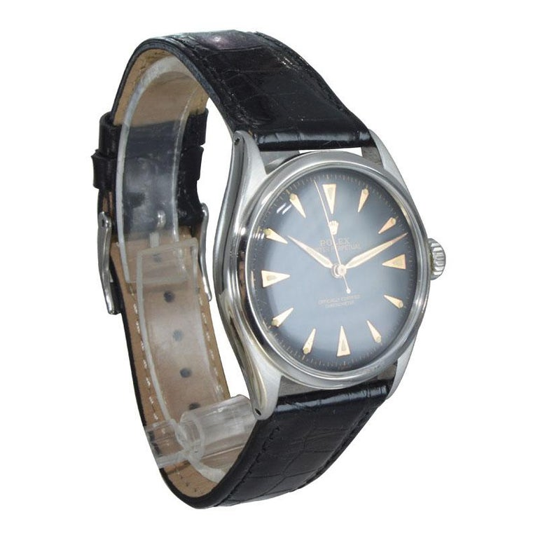 Rolex Steel Early Oyster with Original Super Oyster Crown from 1952-1953 For Sale 2