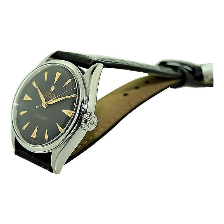 Rolex Steel Early Oyster with Original Super Oyster Crown from 1952-1953 For Sale 4