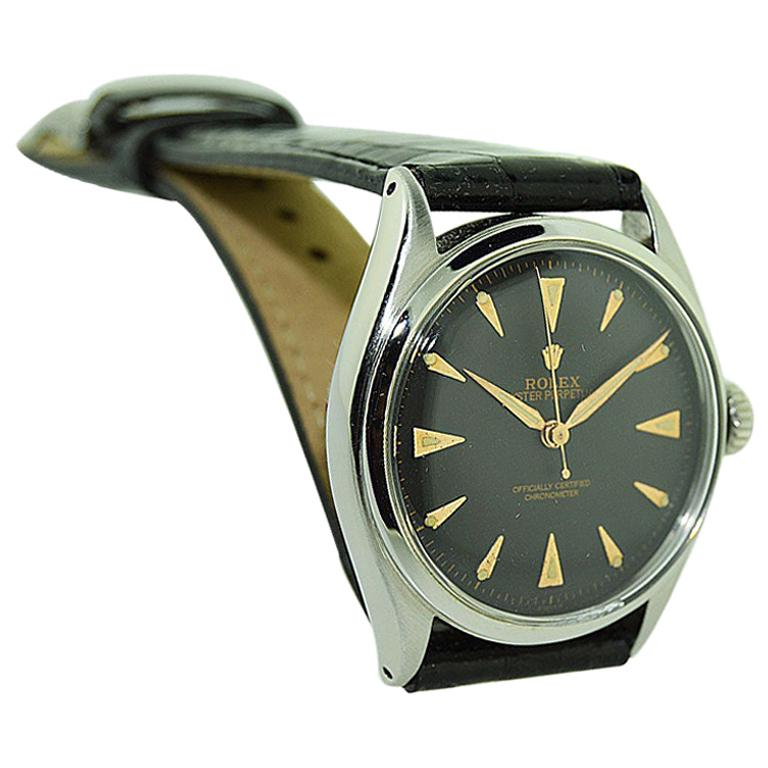Rolex Steel Early Oyster with Original Super Oyster Crown from 1952-1953 For Sale