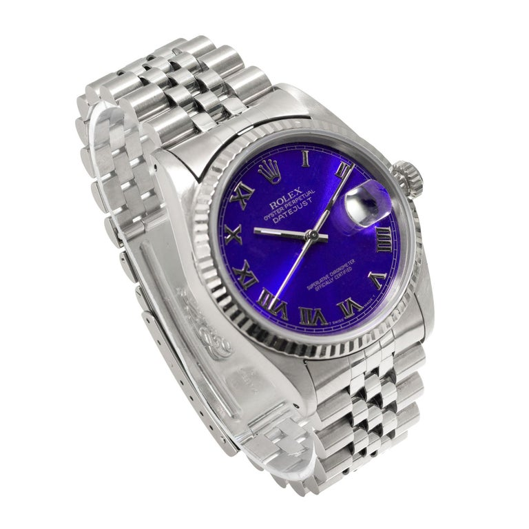 Rolex Steel Gold Datejust Custom Bright Blue Roman Dial Wristwatch Ref 16234 In Excellent Condition For Sale In Stamford, CT