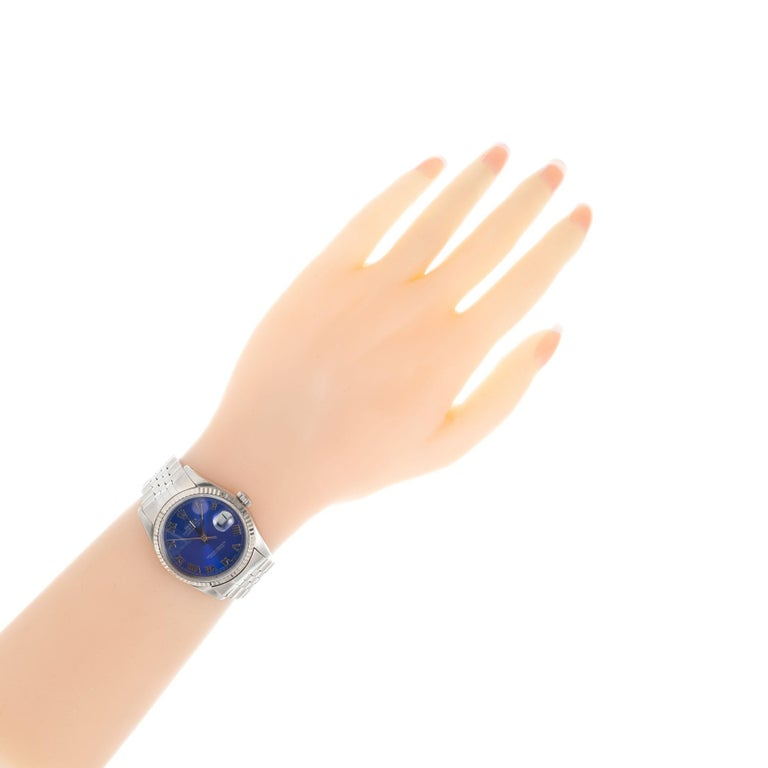 Rolex Steel Gold Datejust Custom Bright Blue Roman Dial Wristwatch Ref 16234 For Sale 2