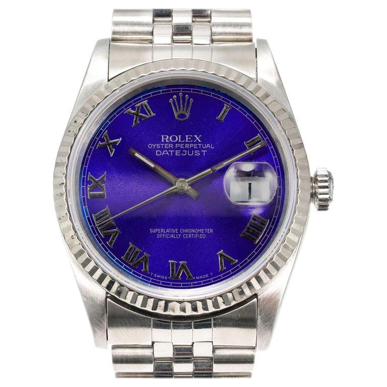 Rolex Steel Gold Datejust Custom Bright Blue Roman Dial Wristwatch Ref 16234 For Sale