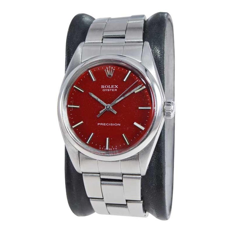 FACTORY / HOUSE: Rolex Watch Company STYLE / REFERENCE: Oyster / Reference 6426 METAL / MATERIAL: Stainless Steel CIRCA / YEAR: Mid 1970's DIMENSIONS / SIZE: 40mm x 34mm MOVEMENT / CALIBER: Manual Winding / 17 Jewels  DIAL / HANDS: Custom Finished