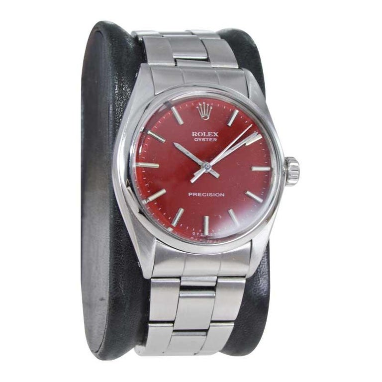 Modern Rolex Steel Manual Winding Oyster with a Custom Finished Dial From Mid 1970's For Sale