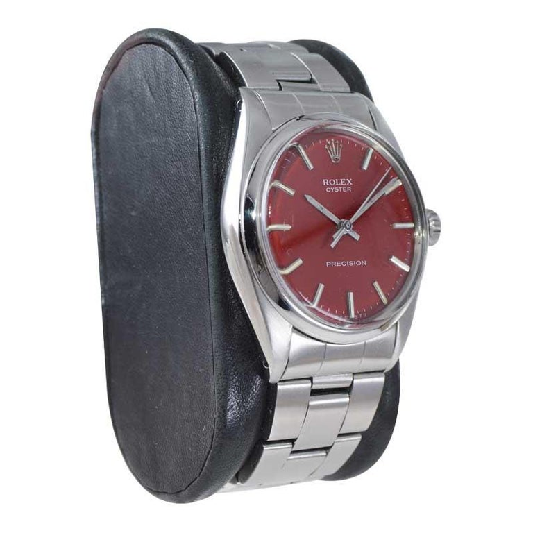Women's or Men's Rolex Steel Manual Winding Oyster with a Custom Finished Dial From Mid 1970's For Sale
