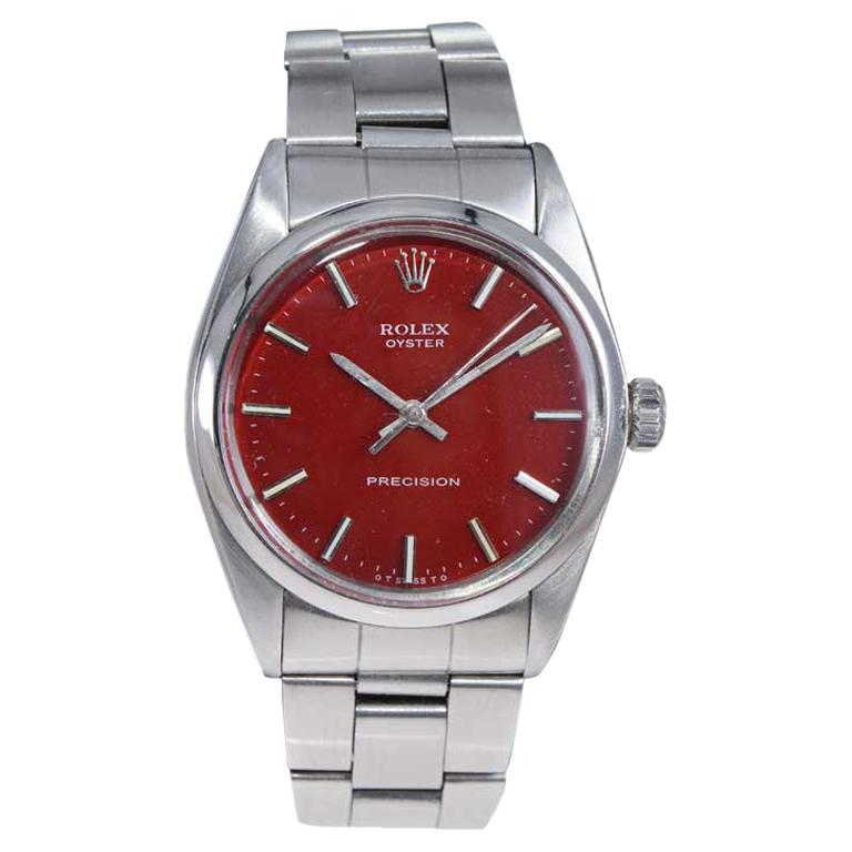 Rolex Steel Manual Winding Oyster with a Custom Finished Dial From Mid 1970's For Sale