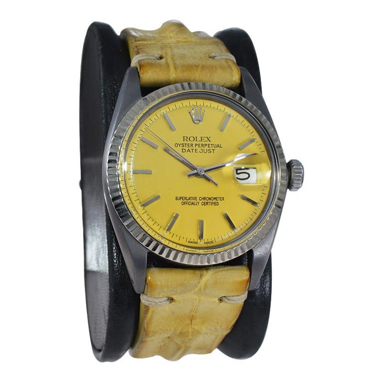 Rolex Steel Oyster Datejust, circa 1968 with Custom Carbonized Case and Bracelet For Sale 5