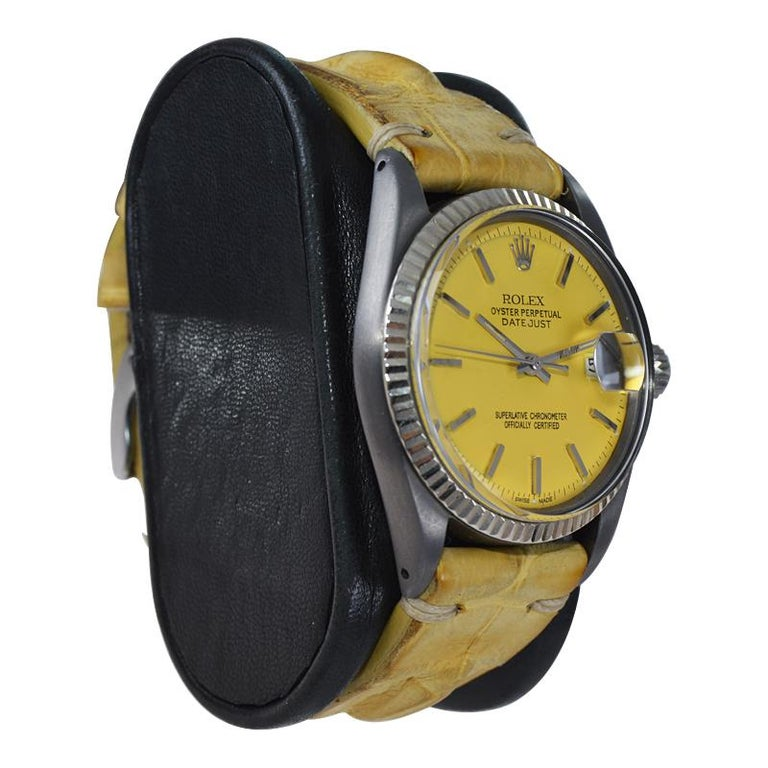 Rolex Steel Oyster Datejust, circa 1968 with Custom Carbonized Case and Bracelet For Sale 7