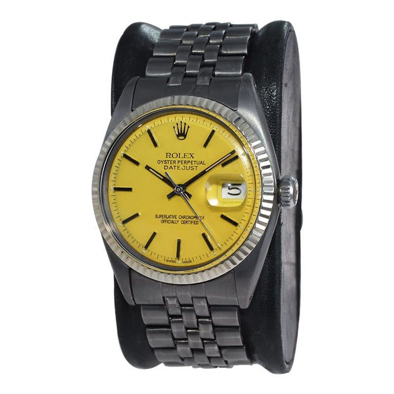 FACTORY / HOUSE: Rolex Watch Company STYLE / REFERENCE: Datejust / Reference 1601 METAL / MATERIAL: Stainless Steel / Solid Gold Bezel CIRCA: 1967 / 1968 DIMENSIONS: 43mm X 36mm MOVEMENT / CALIBER: Perpetual Winding / 26 Jewels / Caliber 1500's DIAL
