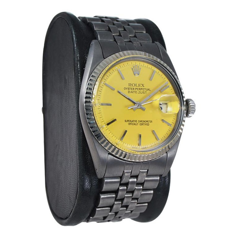 Modern Rolex Steel Oyster Datejust, circa 1968 with Custom Carbonized Case and Bracelet For Sale