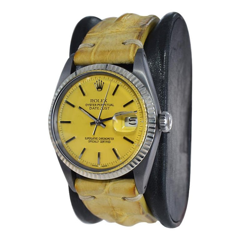 Rolex Steel Oyster Datejust, circa 1968 with Custom Carbonized Case and Bracelet For Sale 3