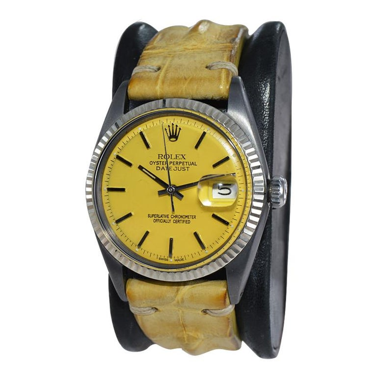 Rolex Steel Oyster Datejust, circa 1968 with Custom Carbonized Case and Bracelet For Sale 4