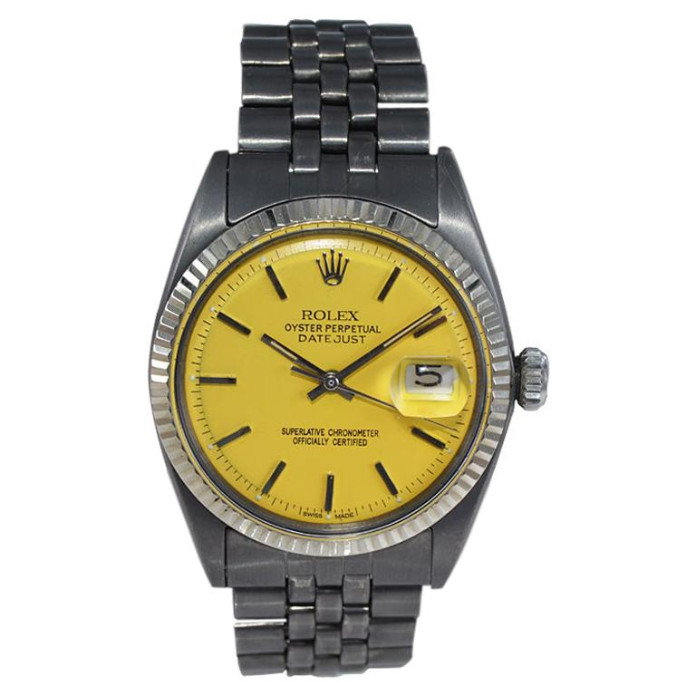 Rolex Steel Oyster Datejust, circa 1968 with Custom Carbonized Case and Bracelet For Sale